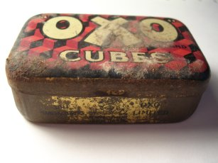 Old metal Oxo cube box