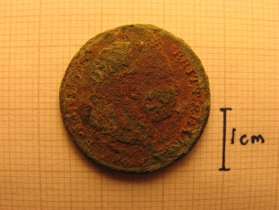 George III counterfeit shilling (head)