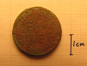 George III counterfeit shilling (tail)
