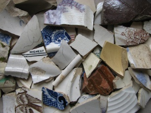 Various shards of old pottery